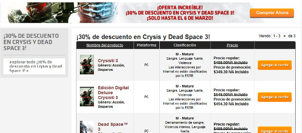 Origins, Crysis 3, Dead Space 3